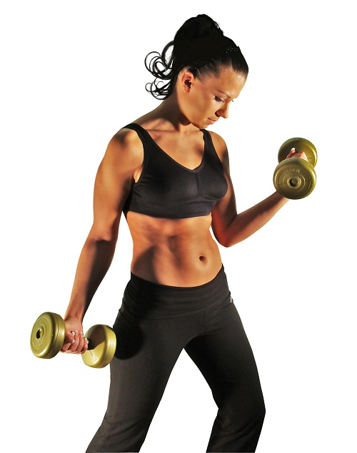 A woman with dumbbells working out