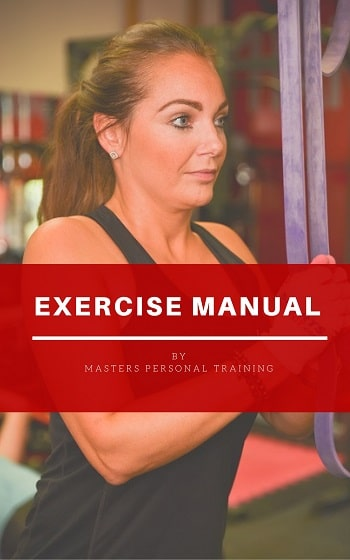 front cover of an exercise manual with a women pulling down on exercise bands