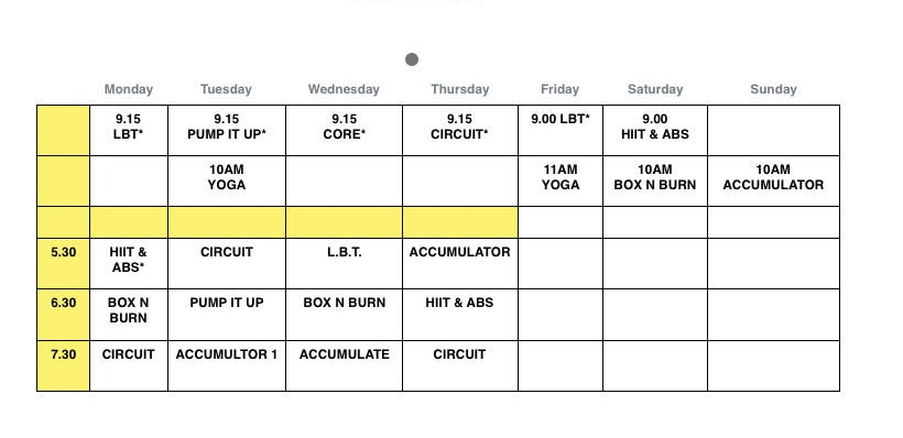 picture of fitness classes timetable at the gym