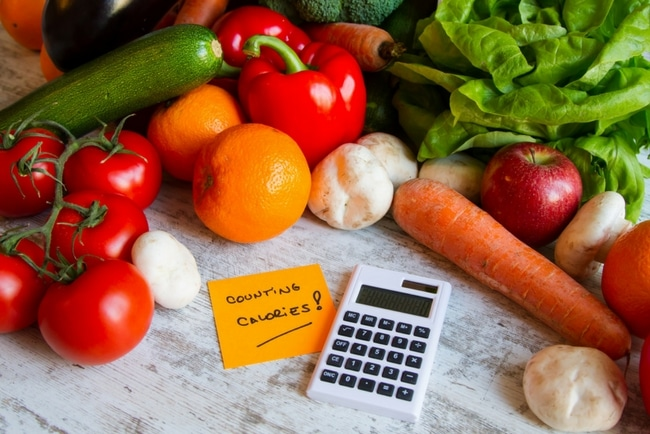 picture of vegetables and a calories card