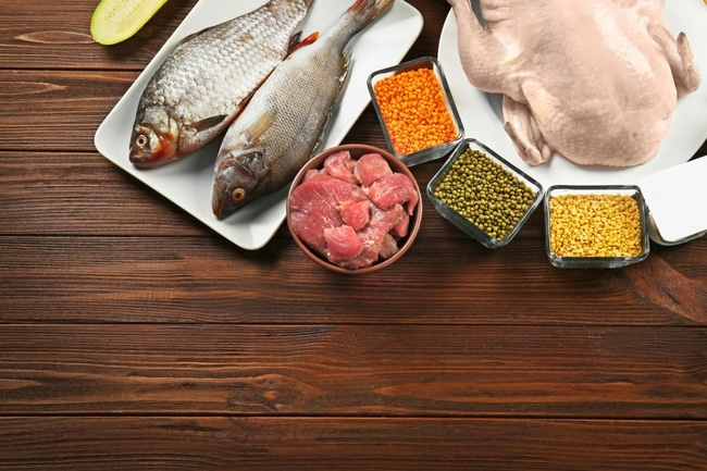 photo of lean proteins, fish, chicken, red meat on a table