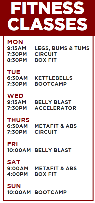 exercise classes timetable
