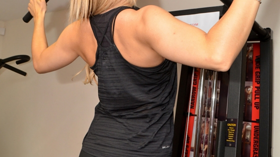 a woman weight training