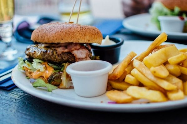 a cheat meal: burger and fries